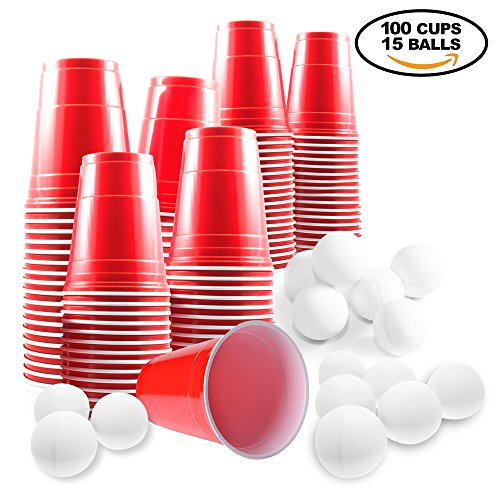 beer pong set 100 rote becher und 15 b lle red cups partybecher bier pong set ideal f r. Black Bedroom Furniture Sets. Home Design Ideas