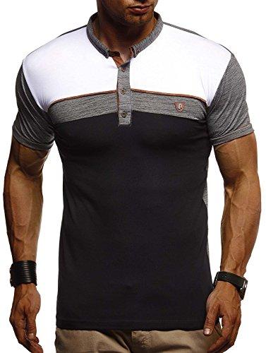 3021e4dacb1ffa LEIF NELSON Herren Sommer T-Shirt Polo Kragen Slim Fit Baumwolle-Anteil
